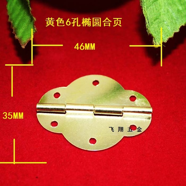 50Pcs 46 35MM Small oval box accessories gold plated hinge 6 hole lace olive hinge