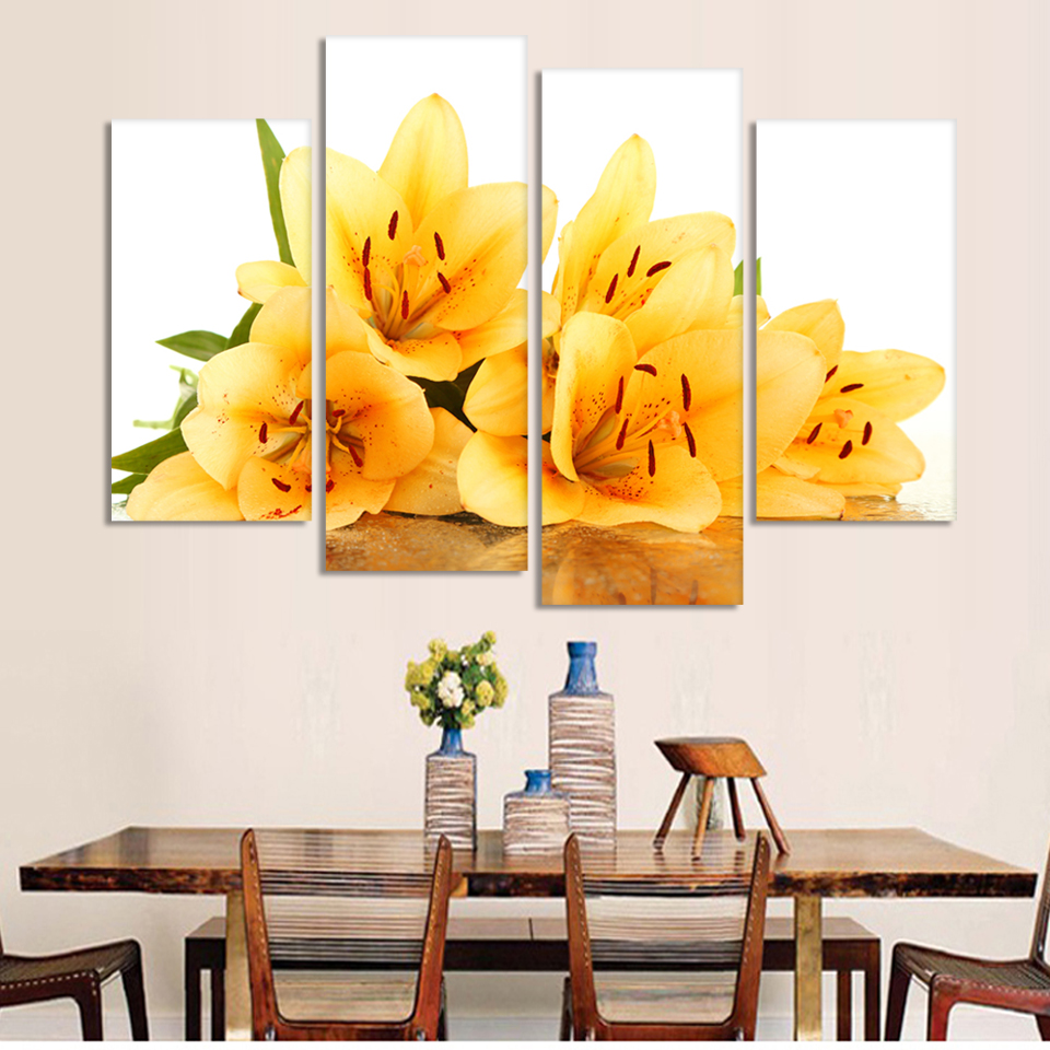 Vintage 4 Piece Modern Wall Painting yellow flower Home Decorative ...
