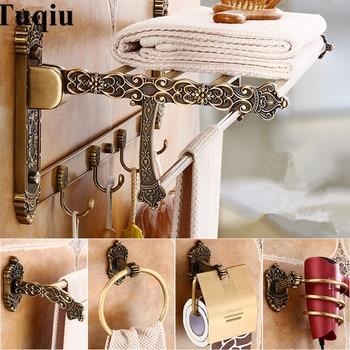 Cuarto de baño accesorios de bronce antiguo tallado de aluminio baño  Hardware conjuntos toalla Rack titular de papel de cepillo de baño de  ganchos