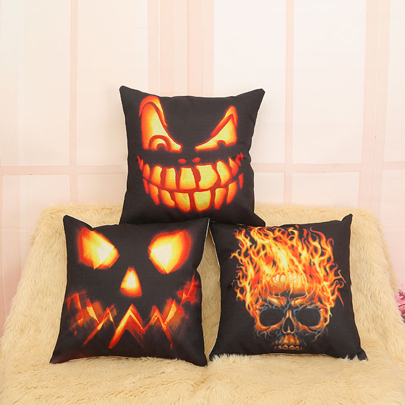 Halloween Cotton Cushion Cover Human Skeleton Car Pillowcase Square Throw Pillow Case Sofa Home Decor 45x45cm F