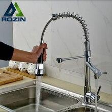 Förderung Chrom Frühling Doppel Auslauf Messing Kitchen Sink Wasserhahn Deck Berg Hot & Cold Küchenmischbatterien