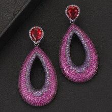 SisCathy Elegant Big Dangle Drop Earrings For Women Luxury CZ Cubic Zirconia Wedding Party Dubai Indian Bridal Earrings 2019 цены онлайн