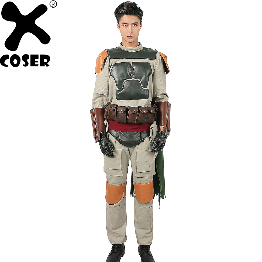 XCOSER Star Wars Boba Fett Cosplay Costume Superhero Fighter Suit Full Set Outfit Fancy Halloween Cosplay Costume for Men Adults