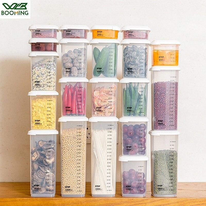WBBOOMING 5 개의 다른 수용량 플라스틱 밀봉 된 깡통 부엌 저장 상자 투명한 음식 양철통 신선한 새로운 명확한 콘테이너를 지키십시오