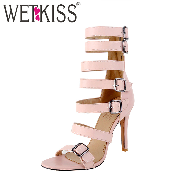 WETKISS Plus Size 46 Gladiator Sandals Women Buckle Strap High Neck Sandal Summer Women Shoes High Heel Female Sandal Ladies
