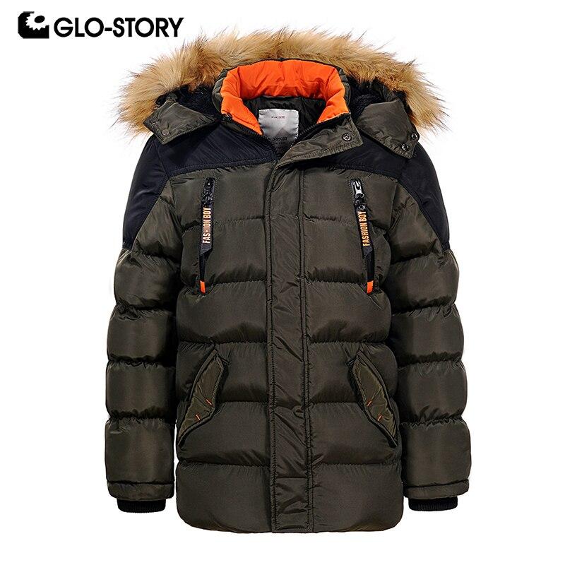 GLO-STORY Зимние куртки для мальчиков-подростков дети мальчик 2018 Повседневное уличная лоскутное с лентой толстовка на молнии парки Пальто