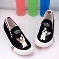 2016 весной новые ботинки холстины, чтобы помочь низкие плоские мультфильм кот моды случайные комфорт обувь студенток ленивый обувь бесплатно доставка