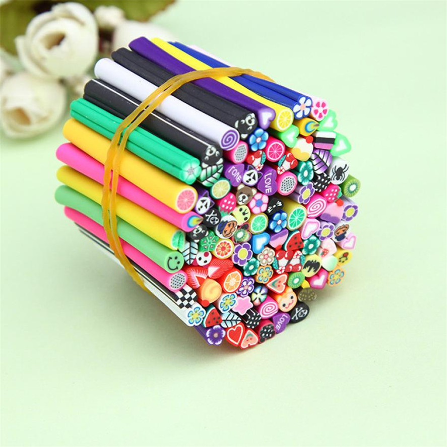 OutTop 100pcs 3D Nail Art Fimo Canes Stick Rods Polymer Clay Stickers Decoration DIY Nail Art Decorations Fashion Nails Design 1000pcs orange stickers fruit flower animal 3d polymer clay tiny fimo fruit slices nail art diy designs nail art decorations