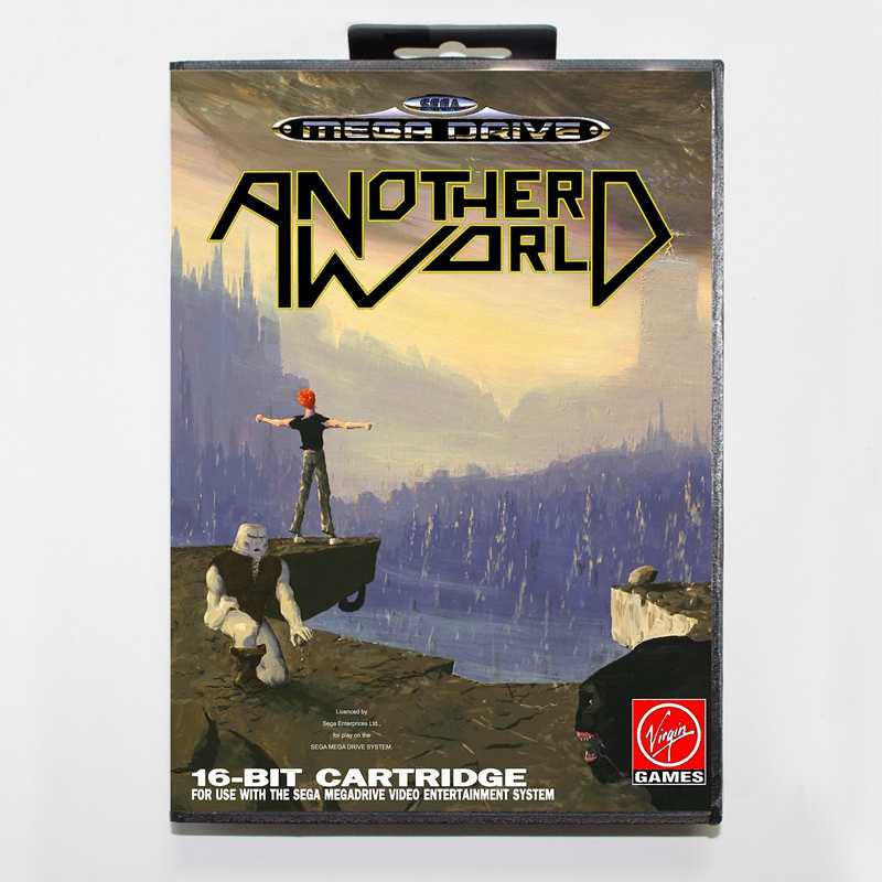 Sega MD games card - Another World with box for Sega MegaDrive Video Game Console 16 bit MD card