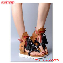 Mixed Colors Fringe Narrow Band font b Women b font Sandals Ankle Buckle Belly Button Platform