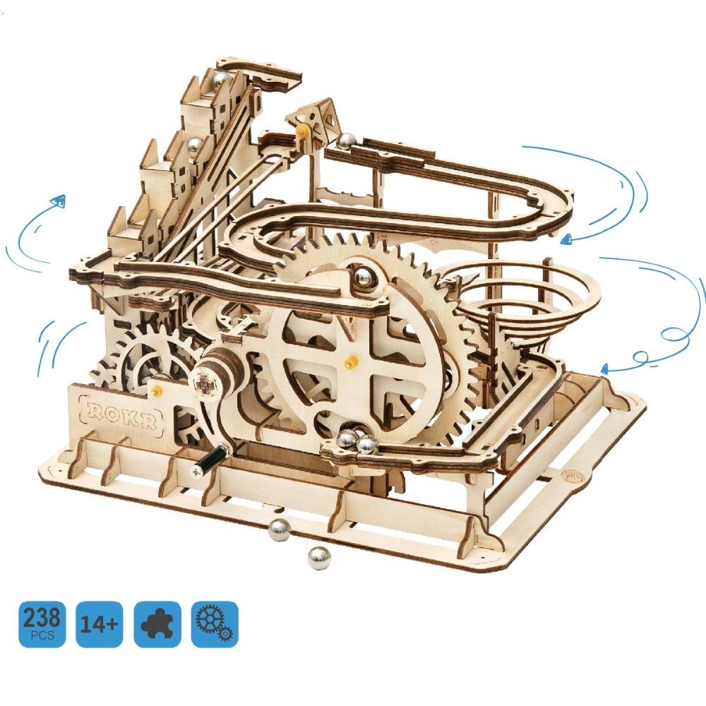 Robud Handcrafted Marble Run 3d Wooden Puzzle Waterwheel Building Set Amazing Tracks Marble Parkour Special for