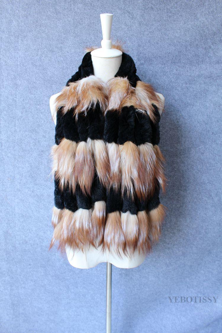 AS  FR82344 tricot veritable fourrure de renard echarpe lapin Real ... c725eac1902