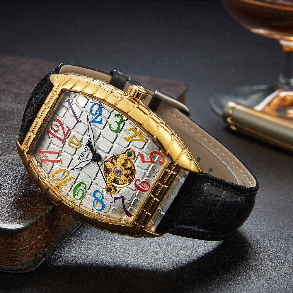 TEVISE Man Mechanical Automatic Self Wind Watch Black Leather Wristwatches Gold Tonneau Tourbillon Crocodile Dial T8012 crocodile crocodile cr367r black gold