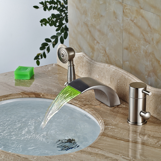 Deck Mount Vintage Bath Faucet Single Handle Waterfall Spout Led Light Tub Mixer Taps Brushed Nickel