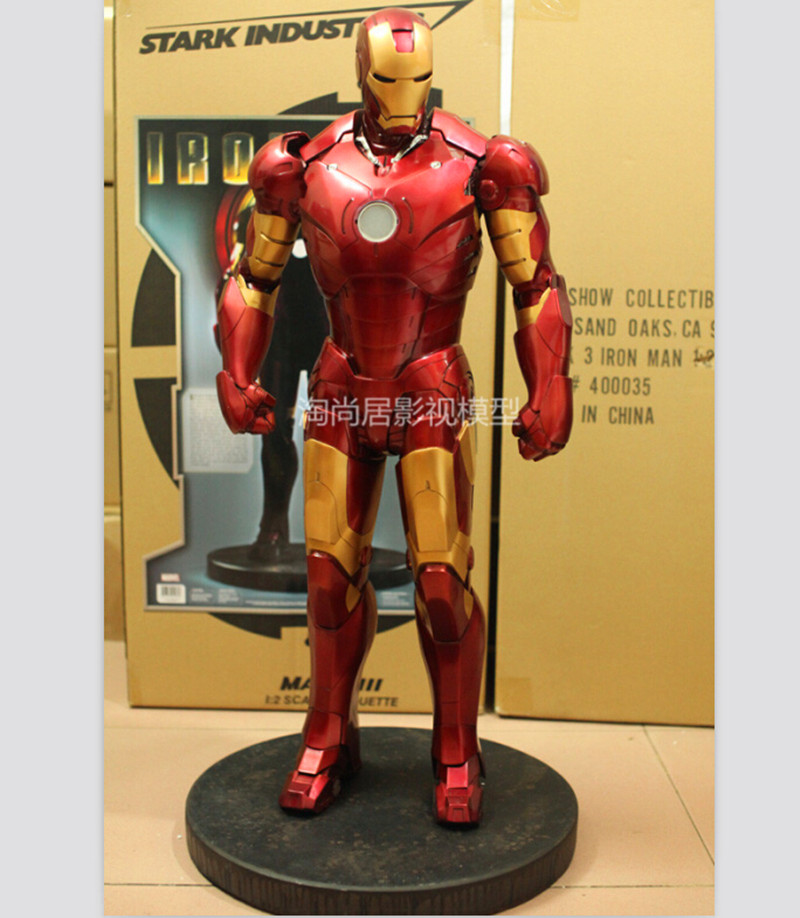 Sideshow Avengers 1:2 Scale  Iron Man Full-Length Portrait MK3 Bust Big Full Body Statue With Led Light (EYE AND BODY) WU559 god of war statue kratos ye bust kratos war cyclops scene avatar bloody scenes of melee full length portrait model toy wu843