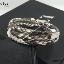 Christmas Gift For Rock Boy Natural Color Python Leather Bracelet For Sports Boy 925 Silver Bracelet High-grade Men Bracelet