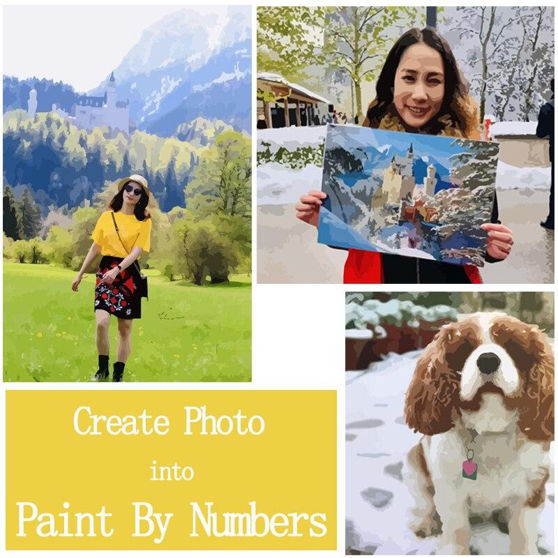 Personalisierte Farbe Durch Zahlen Foto Nach DIY Ölgemälde Durch Zahl Bild Zeichnung Leinwand Porträt Familie Kinder Haustiere Foto