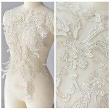 1/5Pieces Lace Appliques Delicate Wedding Trim Embroidery Applique Collar Accessories Materials 2019 59X39cm