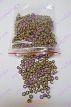 1000pcs pack Wheat silicone micro nano bead with silicone line for Nano Hair Extensions tool kit