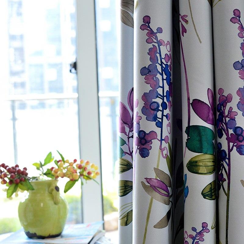 Американский стиль фиолетовые Цветочные затемненные шторы для гостиной, спальни, кухни, кортинас с принтом, пасторальные оконные шторы|Занавеска|   | АлиЭкспресс