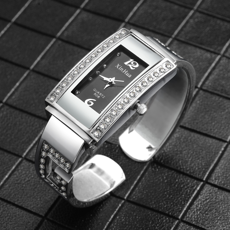 Luxury Diamond Bracelet Watch Women Watches Fashion Rectangle Women's Watches Ladies Watch Clock relogio feminino zegarek damski stylish golden hollow rounded rectangle hasp bracelet for women