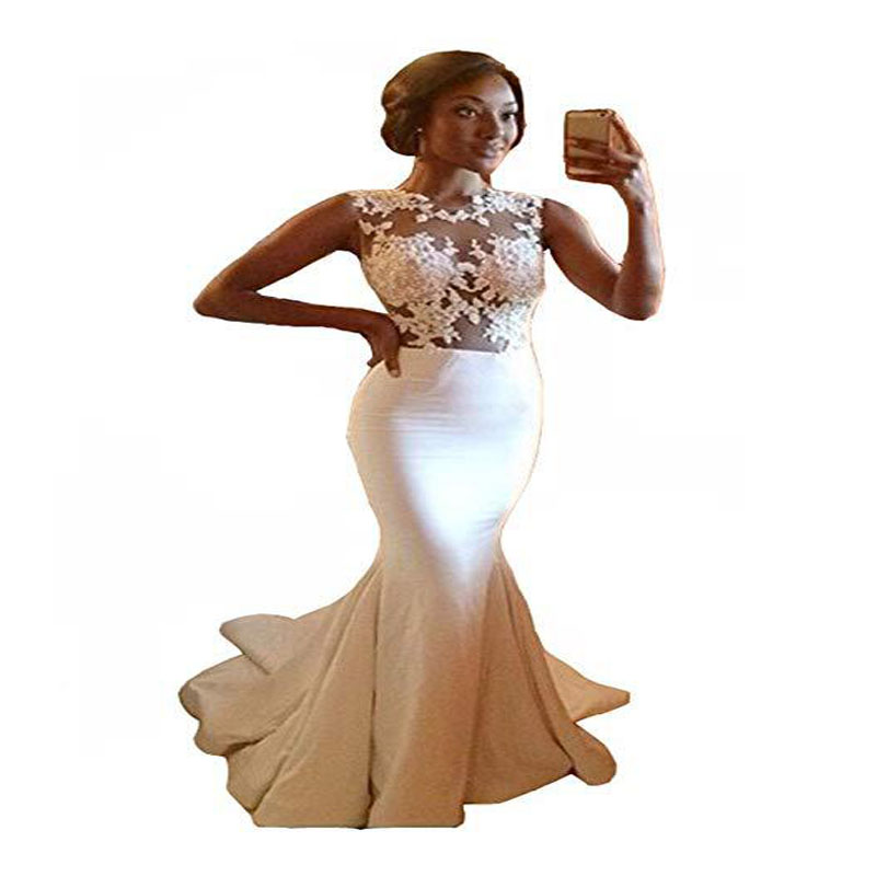 U-SWEAR 2019 Sexy Mermaid Prom Dresses Sleeveless Lace Appliques Cheap O-Neck  Floor-Length  Plus Size Party Evening Gowns