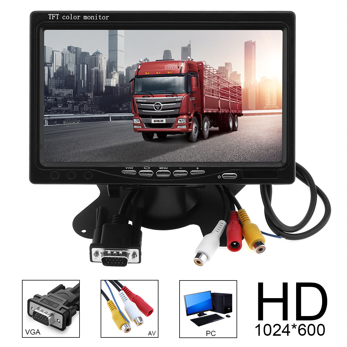 1024x600 7 Inch Car Home Monitor Multifunction Bright Color VGA Interface TFT LCD AV Revers Rearview Monitor
