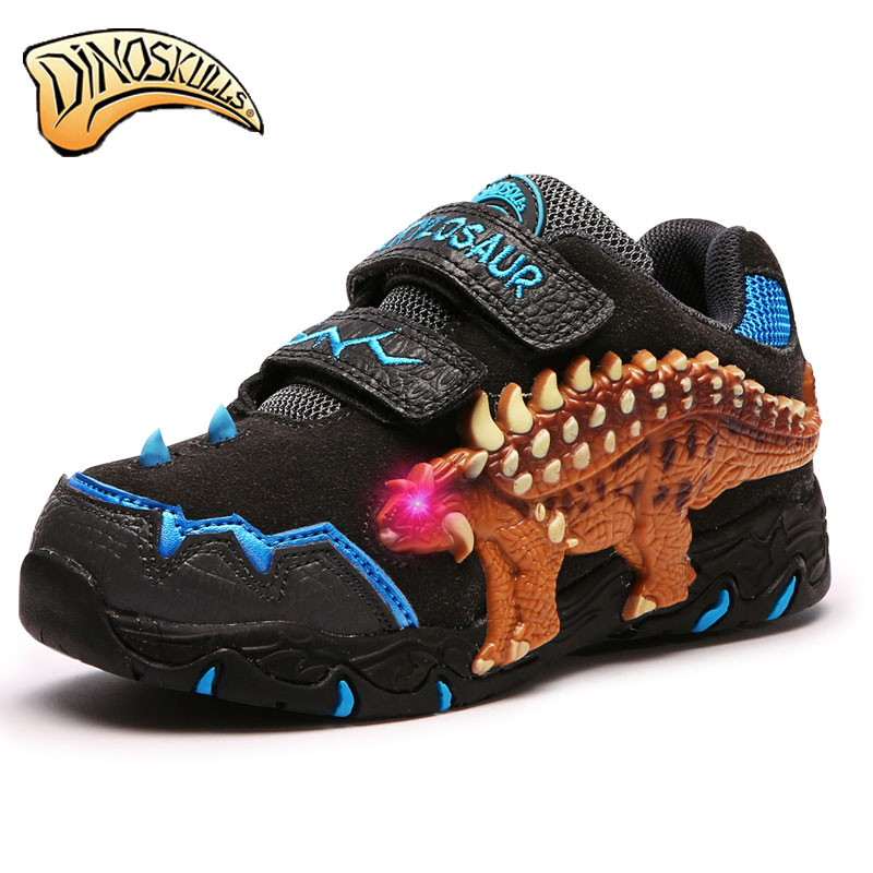 Kids shose  Boys Shoes Casual Sneakers Leather Dinosaur flashing lights Fashion Children Boy Autumn Winter Sneakers Children glowing sneakers usb charging shoes lights up colorful led kids luminous sneakers glowing sneakers black led shoes for boys