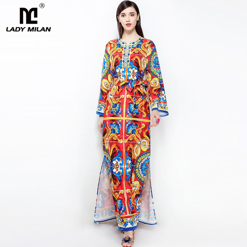 New Arrival 2018 Womens O Neck Long Sleeves Flora Printed Beaded Sash Bow Belt Sexy Split Fashion Casual Maxi Dresses