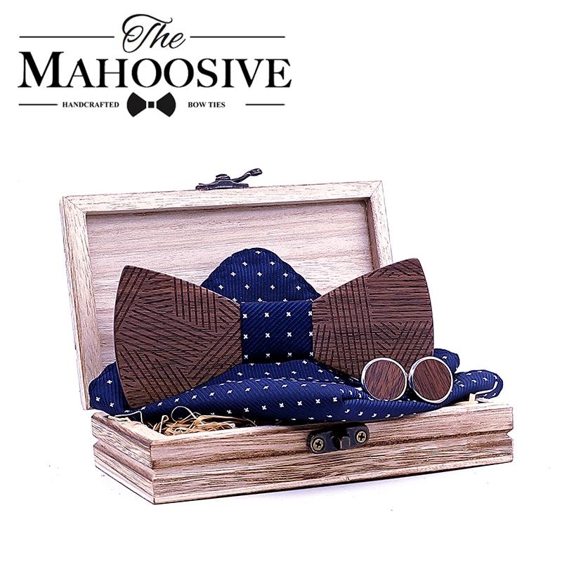 Men's Plaid Wooden Bow Tie Set Striped Wood Bowtie Handkerchief Cufflinks Sets With Wood Box For Men Wedding Gift