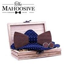 Mens Plaid Wooden Bow Tie Set Striped Wood Bowtie Handkerchief Cufflinks Sets With Box For Men Wedding Gift