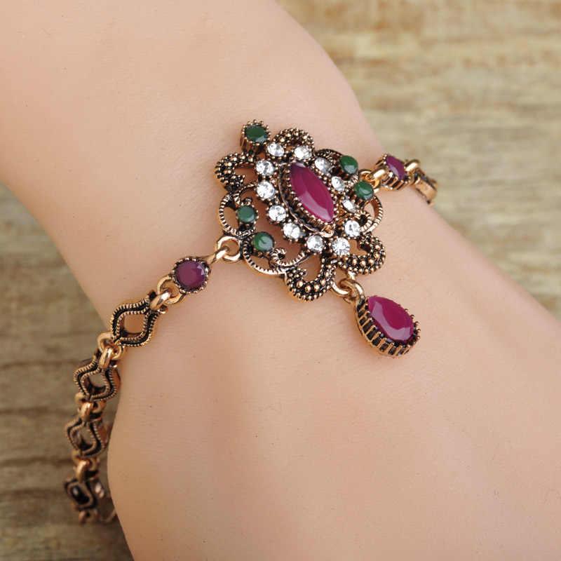 Blucome flor turca do vintage feminino pulseiras resina antiga cristais vermelho waterdrop pulseira pulseira jóias pulseras bijuterias
