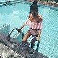 Женская Мода Hipster Лето Из Двух Частей Набор Оборками Оборками С Плеча Бюстгальтер Старинные Высокая Талия Вырез Biquini бикини