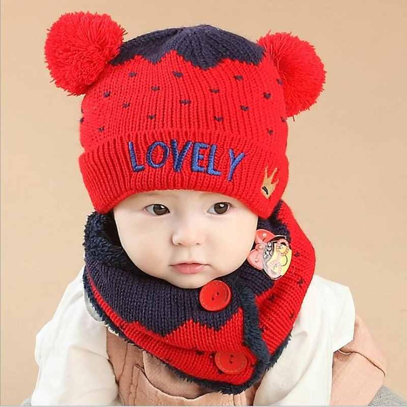 2 piece/ set Cute Hat Scarf Baby Winter Cap Crown Knit Beanie Bonnet Warm Hats for Children Neck Warmer Photography Props