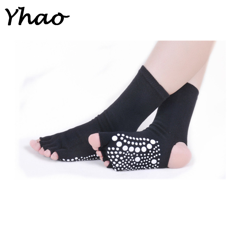 New brand Yoga socks open toes Anti-Slip Ankle Grip perfaect quality pilates fitness Sox Compression Pilates Yoga Socks