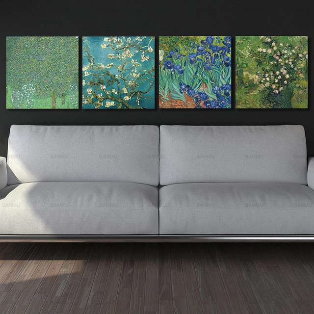 4pcssets Huge Modern Wall Art Home Giclee Prints Artwork Almond Irises By Vincent Van Gogh Oil Paintings