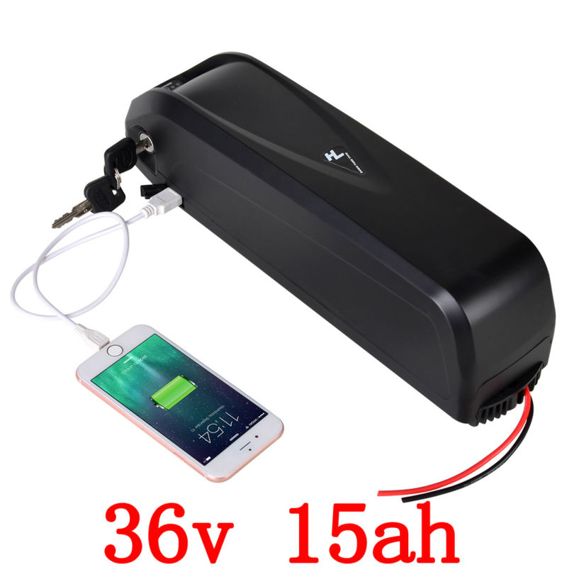 US EU No Tax 36V 15Ah 1000W Electric Bicycle Battery 36V With 5V USB 2A Charger Electric Bike Battery free shipping аккумулятор patriot 12v 1 5 ah bb gsr ni