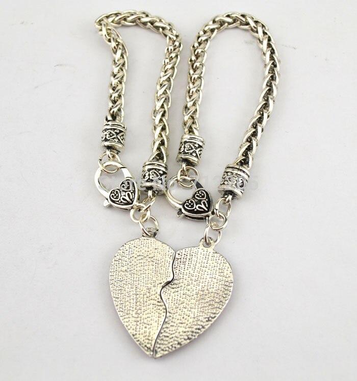 20 шт много родиевое покрытие лучший друг с четкой подвеска в форме сердца с кристаллами Лобстер браслет на крючке(B10126