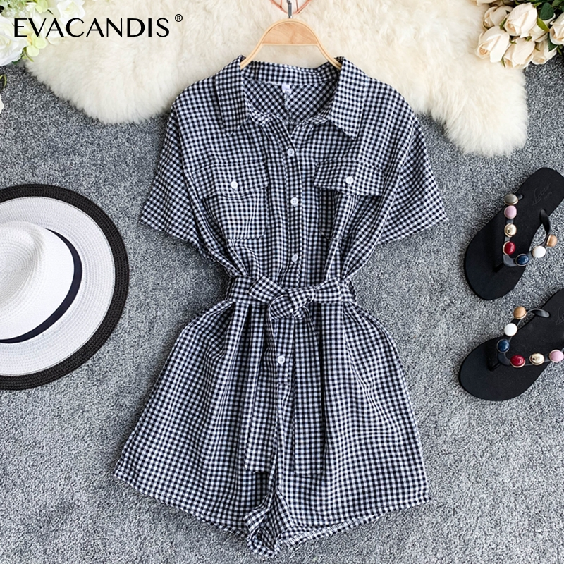 Plaid Short Women Jumpsuit Turndown Collar Tunic Korean Summer Overalls Vintage Pink Black Rompers Elegant Plaid Women Jumpsuit