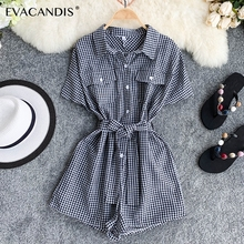 Plaid Short Women Jumpsuit Turndown Collar Tunic Korean Summer Overalls Vintage Pink Black Rompers Elegant Plaid Women Jumpsuit цена