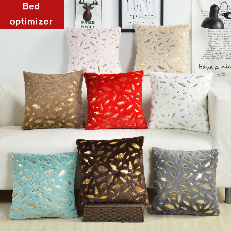 Bed optimizer golden feather flocked short plush decorative cushion cover beautiful throw pillow case