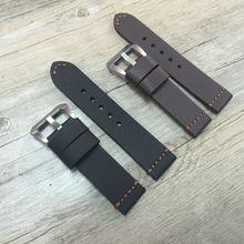 22 mm 24 mm 26 mm negro marrón correa de piel retro, rough correa de cuero para P-Style reloj y piloto reloj, Shiping libre