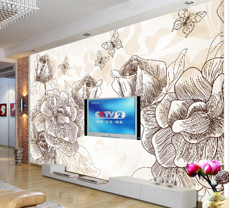 Custom 3D Wallpaper, Hand-painted lotus murals for the living room bedroom TV background wall vinyl papel de parede custom flowers wallpaper 3d hand painted flower murals for the living room bedroom tv background wall waterproof wallpaper