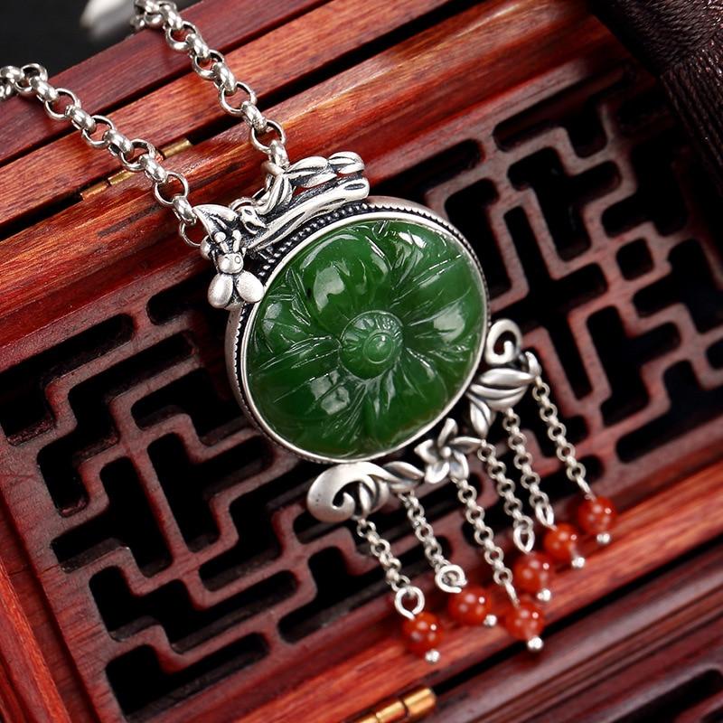 silver inlay hetian jade jade lotus restoring ancient ways tassel female wholesale high-grade sweater chain pendant цена 2017