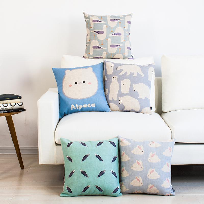 Лен Чехлы для подушек Пледы декоративные Чехлы для подушек 45 см * 45 см Наволочки светло-голубой Альпака Polar Bear голубь Fish Банни