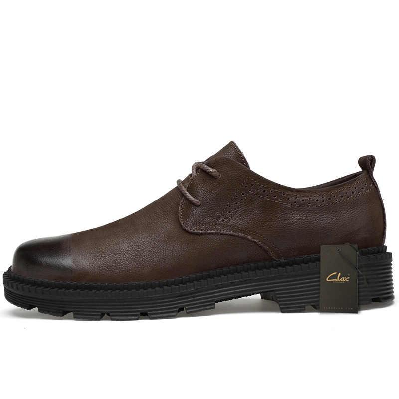 CLAX Herren Leder Schuhe Aus Echtem Leder Frühling Herbst Designer Männer Casual Walking Footwar Winter Pelz Chaussure Homme Plus Größe