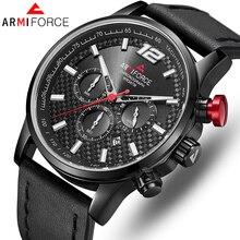 ساعات يد رياضية من الجلد للرجال من علامة تجارية فاخرة من ARMIFORCE ساعات يد كوارتز للرجال ساعة كرونوجراف للرجال