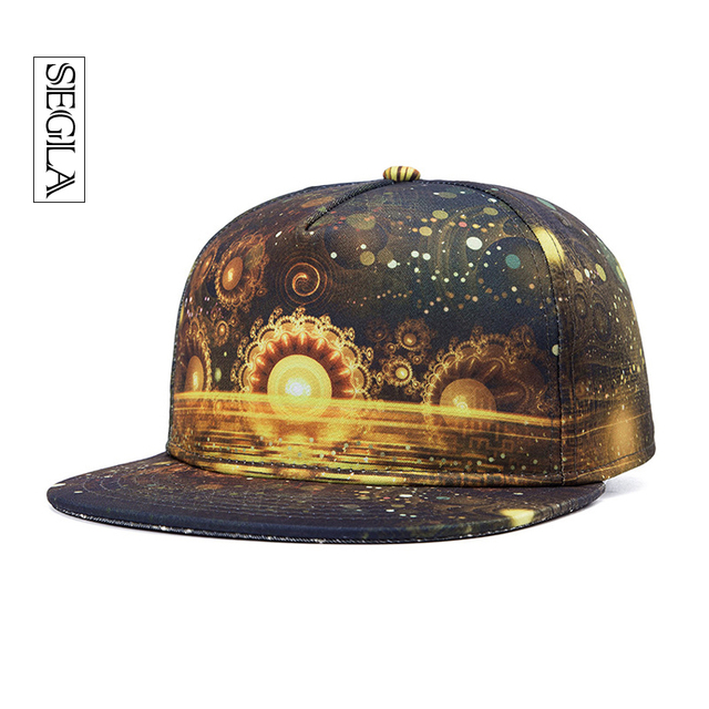 SEGLA Brand Casual Hip Hop Cap 3D Out Space Stars Flat Brim Snapback Casquette Sports&Outdoor Adjustable Baseball Caps Men Women