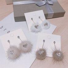 Korean Japan Mink Hair Zircon Heart Autumn Fall Winter Sweet Women Dangle Drop Earrings Fashion Jewelry Accessories-QQD5