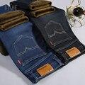 Os Recém-chegados Bishe Marca Mens Inverno Engrossar Calça Jeans Stretch Quente Fleece Denim Motociclista Jean Calças Calças de Alta Qualidade Tamanho 28-40